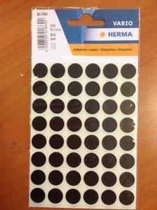 Stickers rond 13 mm inhoud 240 stuks zwart