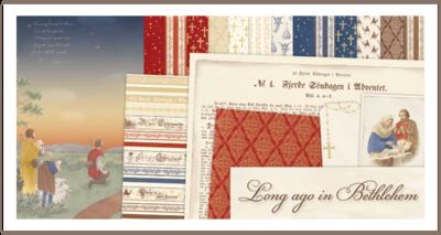 Totaalset COMPLEET + CARDST long ago in Bethlehem 30.5 x 30.5 cm inhoud 21 vel