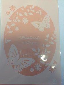 Zakken PP vlinder en tekst  p/10st roze