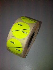 Stickers fluor VAN VOOR semie-permanent 35mm rol/1000st geel