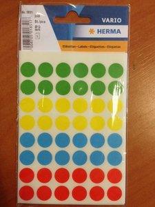 Stickers assorti kleuren rond 19mm p/100st