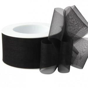 Lint organza 50mm p/50m zwart