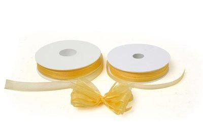 Lint organza 7mm p/50m geel