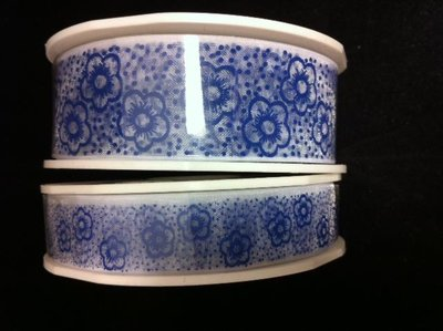 Lint organza bloemen 16mm p/15m delftsblauw