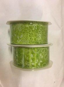 Lint organza bloemen 38mm p/10m groen