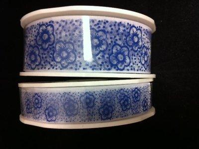Lint organza bloemen 25mm p/15m delftsblauw