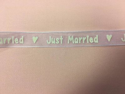 Lint organza Just married 15mm p/m wit