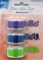 Masking Tape paper lace 18mm p/1.5m paars/donkerblauw/limegroen