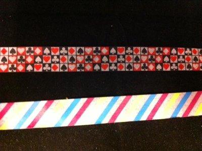 Masking tape wit 15mm p/10m streep rood/geel/blauw