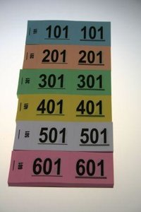 Nummerblokjes 1-1000  p/10 boekjes 1 kleur geel