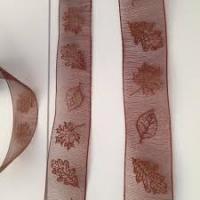Lint organza herfstbladeren 25mm p/m bruin