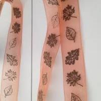 Lint organza herfstbladeren 25mm p/20m koper