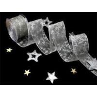 Lint organza gestikte krullen 62mm p/m zilver