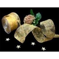 Lint organza gestikte krullen 62mm p/m goud