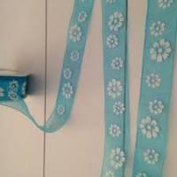 Lint organza bloemen 25mm p/m turquoise/wit