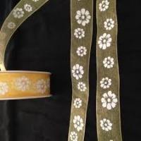 Lint organza bloemen 25mm p/m geel/wit