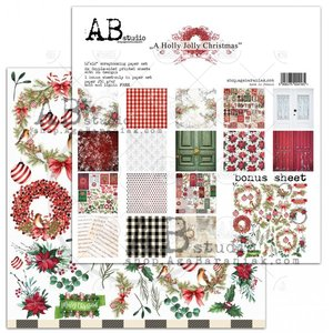 Paper pad a Holly Jolly CHristmas 30.5x30.5cm p/9vel