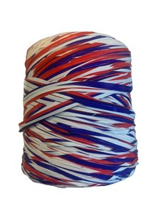Raffia rood/wit/blauw poly 15mm p/200mtr